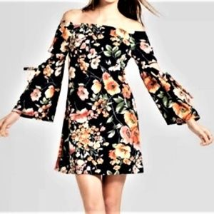 Floral Dress Small Off Shoulder Bell Sleeves